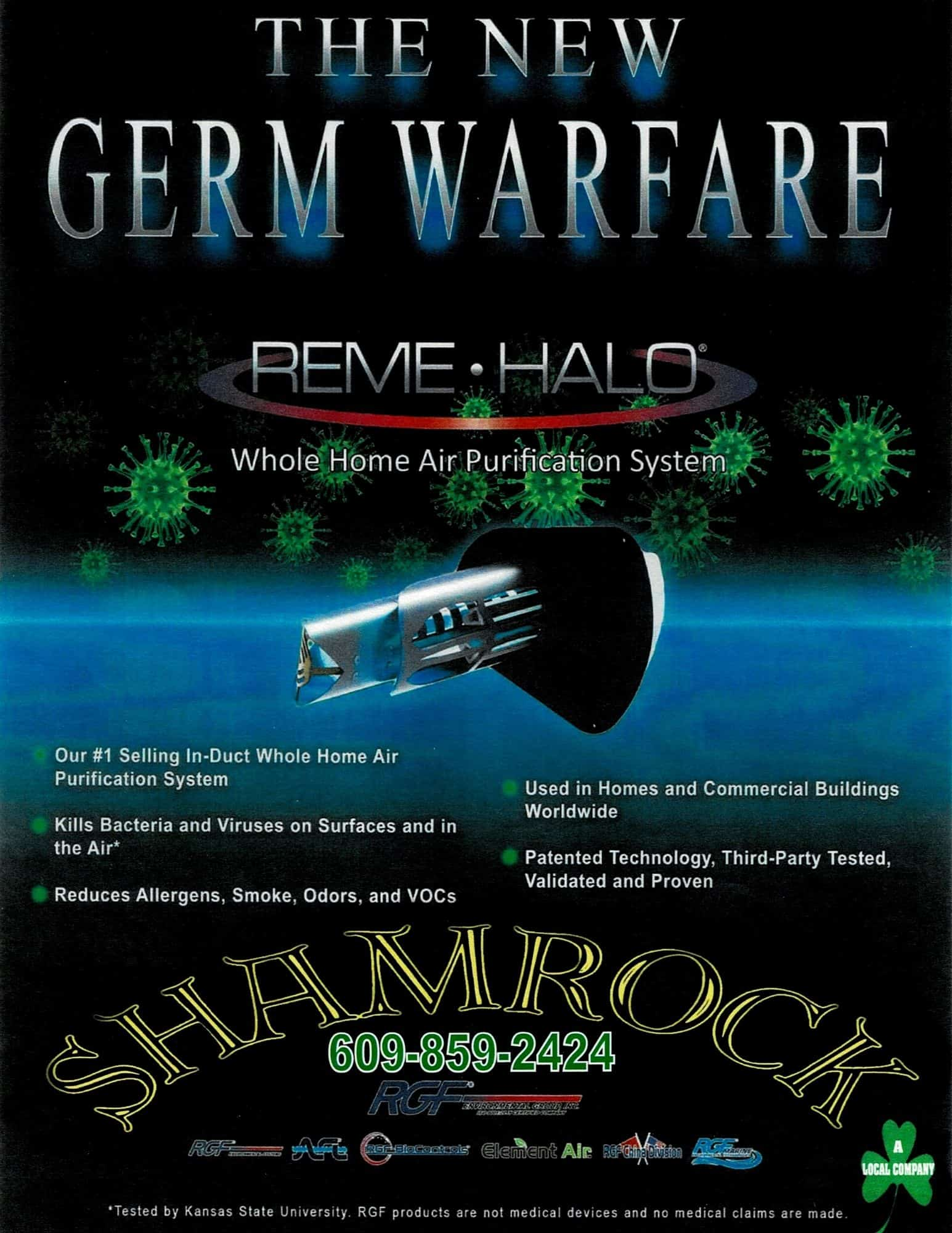Reme Halo Air purification system flier for Shamrock Heating and Air Conditioning in Vincentown, NJ